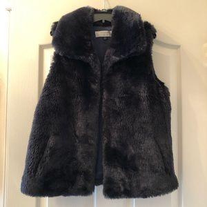 Tahari Navy Fur Vest